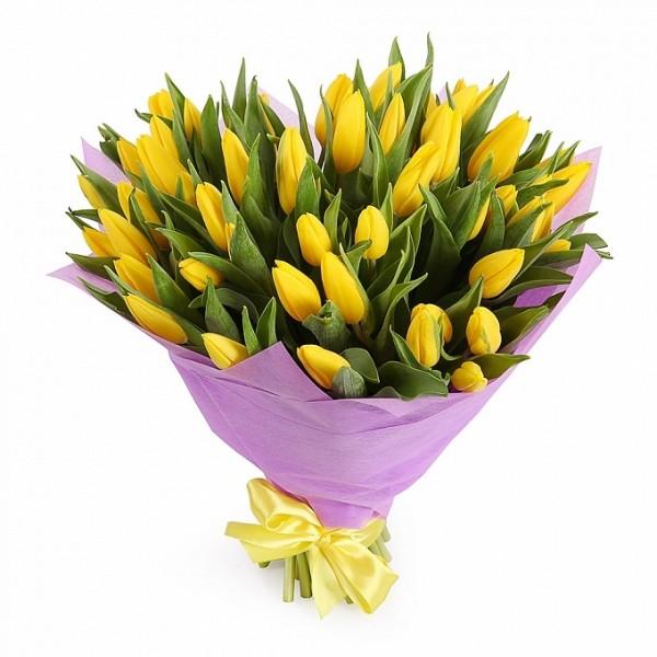 Желтые тюльпаны в фетре