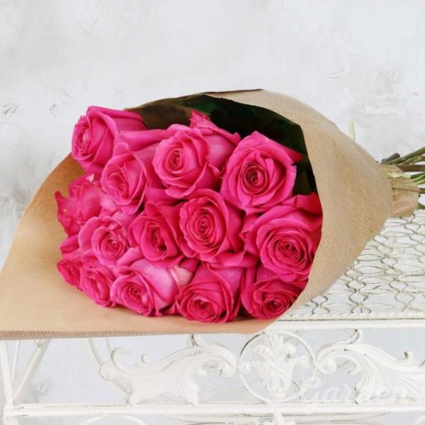 15 роз ТОПАЗ в крафте