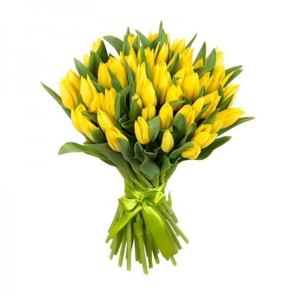 Желтые тюльпаны с лентой
