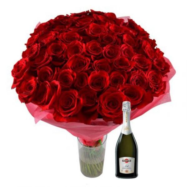 51 роза + Асти Мартини