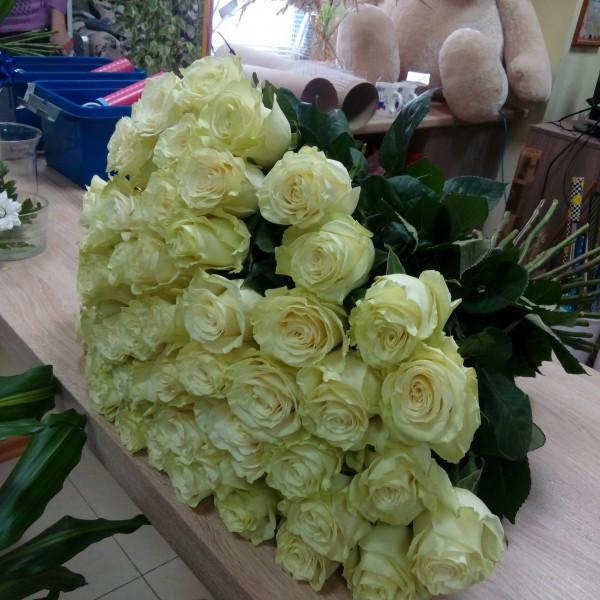 65 белых роз