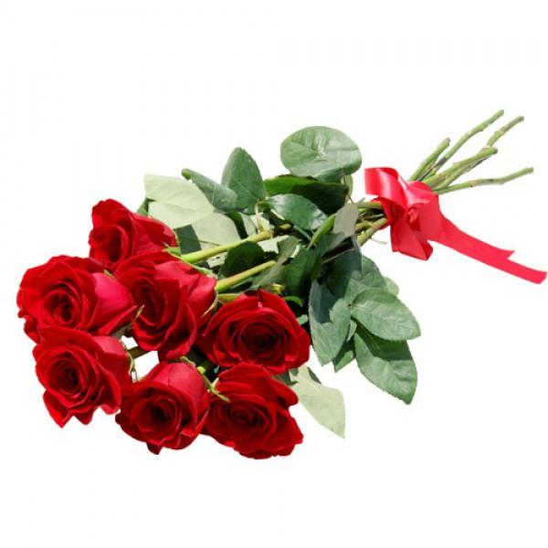 7 бордовых роз