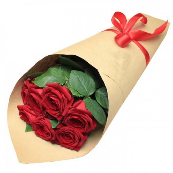 7 роз в крафт бумаге